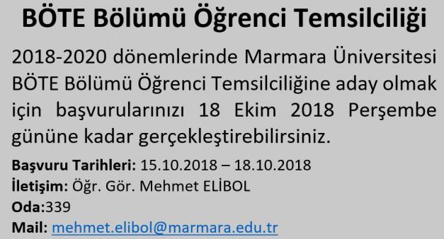 Marmara Üniversitesi BÖTE Bölümü Öğrenci Temsilciliği